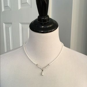Pearl Style and Rhinestone Necklace